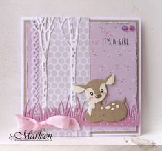 Handmade card by DT member Marleen with Collectables Eline's Deer (COL1401), Craftables Tiny's Trees Birch (CR1337) and Grass (CR1355) from Marianne Design