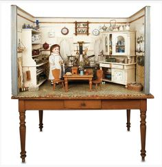 Beautiful large scale miniature room box. German.