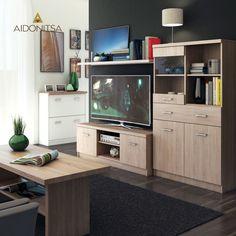Σύνθεση TV 3 τεμαχίων. Έπιπλο TV 120x42x46 με 2 ντουλάπια, Ράφι τοίχου κρεμαστό 110x22x30, Βιτρίνα με τζάμι 80x33x145 με 2 ντουλάπια και 1 συρτάρι. Η συνολική διάσταση της σύνθεσης υπολογίζεται κατά επιλογή ανάλογα με τις ανάγκες του χώρου σας και την προτίμησή σας. Από την Alphab2b.gr Corner Desk, Flat Screen, Living Room, Furniture, Home Decor, Corner Table, Blood Plasma, Decoration Home, Room Decor
