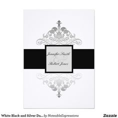 White Black and Silver Damask Wedding Invitation