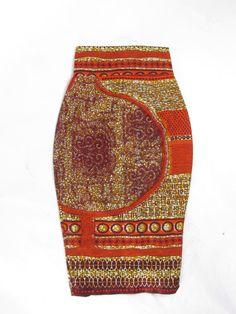 The Skinny Pencil Skirt - Midi African Wax Skirt - Earth
