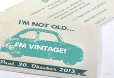 originale Cartolina invito compleanno-geburtstag Einladungskarte - original Birthday's Party Invitation-Vintage-car