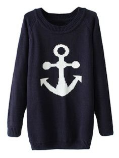 Shop Dark Blue Knit Sweater With Anchor Pattern from choies.com .Free shipping Worldwide.$29.99