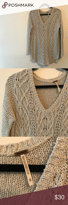 Free People Cable Knit Sweater Barely worn, in great condition Free People Sweaters V-Necks