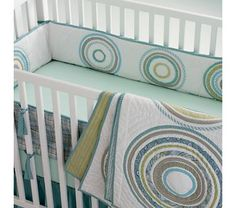 Baby Crib Bedding: Baby Crib Blue Comtemporary Appliqued Circle Crib Bedding
