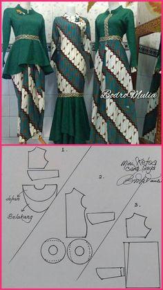 V/ corte princesa - Her Crochet Dress Brukat, Kebaya Dress, Blouse Batik, Batik Dress, Batik Fashion, Fashion Sewing, Dress Brokat Muslim, Batik Muslim, Dress Batik Kombinasi