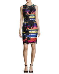 Sleeveless Printed Sheath Dress, Multi Colors, Size: 2
