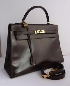 Hermes Vintage Brown Box Calf Leather 32cm Kelly Bag $4,800.00