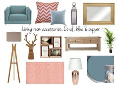 LIVING ROOM ACCESSORIES: COPPER, BLUE AND CORAL