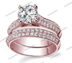 2.10Ct Knife Edge Bridal Ring 10k Rose Gold Plated D/VVS1 Diamond Wedding Band…