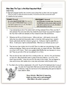 This FREE worksheet was designed as part of an introductory lesson for topic and main idea. Students analyze five short passages to determine the topic of each. Reading Resources, Reading Strategies, Reading Skills, Reading Comprehension, Teaching Main Idea, Student Teaching, Teaching Ideas, Reading Tutoring, Teaching Reading
