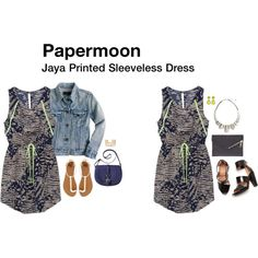 """I love this dress!  The funky print and green trim is great.  """"Jaya Printed Sleeveless Dress"""" by katrinalake on Polyvore"""