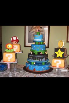 Mario birthday - instead of cake can wrap boxes like ? Boxes for decoration.