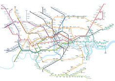 """""""A new version of the London Underground map with stations positioned geographically designed by Mark Noad"""" via notcot.org"""