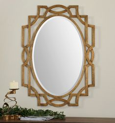 """Contemporary Hand Forged Metal Beveled Wall Mirror Large 41"""""""