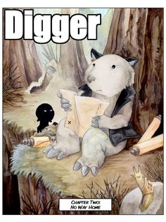 Digger series by Ursula Vernon (3 volumes) -- A wombat gets lost, meets some gods and shadows and hyenas and trolls, and finds herself dealing with the troubles of a land far from home. Request it at http://eisenhowerlibrary.org/ or by calling the Answers Desk at 708.867.2299