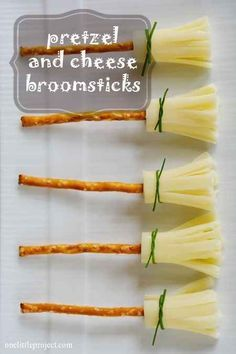 Pretzel sticks, string cheese, and chives make adorable broomstick snacks. More