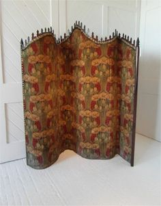 Art Nouveau Tambour screen covered in original velvet fabric, circa 1900, possibly by  Harry Napper