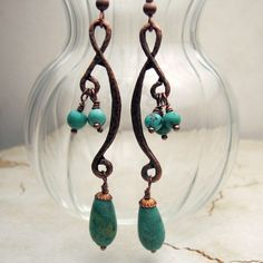 Handmade Turquoise Earrings Antique Copper Long Boho Jewelry  'Summer Tango'. $20.00, via Etsy.