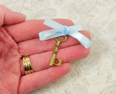 Ill find somewhere for something like this to go! Something Blue Wedding Bouquet Charm Key to My Heart by KCowie, $4.75