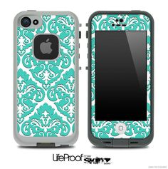 Delicate Pattern White and Green Skin for the iPhone 5 or 4/4s LifeProof Case from DesignSkinz. Saved to Skinz you'll LOVE..