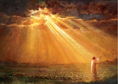 picture of jesus christ with outstretched arms in the middle of a flock of sheep and rays of sunlight poking through the cloudy skies Pictures Of Jesus Christ, Bible Pictures, Jesus E Maria, Christian Artwork, Christian Decor, Lds Art, Jesus Painting, Jesus Christus, Prophetic Art