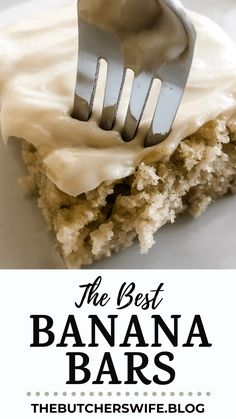 The BEST Banana Bars you will ever eat! Sweet, moist and full of delicious banana flavor with a smooth cream cheese frosting Banana Recipes Easy, Ripe Banana Recipe, Banana Dessert Recipes, Easy Banana Bread, Easy Desserts, Delicious Desserts, Yummy Food, Yummy Treats, Apple Bread