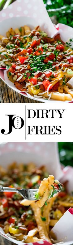 These dirty fries will rock your world! They're loaded with homemade gravy, bacon, banana peppers, green onions, tomatoes, parsley and drizzled with mayonnaise.