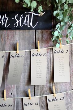 Décor- Table cards in entrance and copies for guests to take or find at their table.