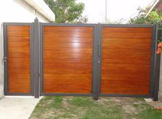 portones corredizos - batientes Fence Gate Design, Modern Fence Design, Steel Gate Design, Front Gate Design, Main Gate Design, House Gate Design, Entrance Design, Entrance Gates, House Entrance