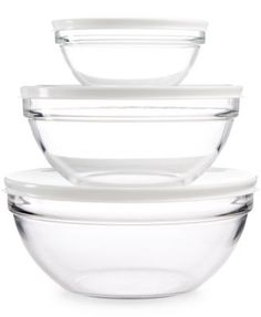 Martha Stewart Collection 3-Pc. Set of Glass Bowls with Lids, Only at Macy's | macys.com