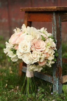 Pretty Hand Tied Wedding Bouquet Showcasing: Blush Roses, Blush Spray Roses, Cream Roses, White Sweet Peas
