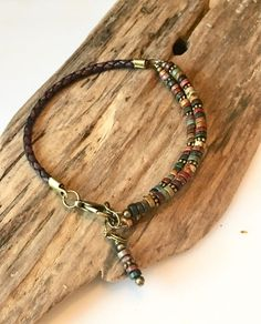 Excited to share this item from my shop: Leather Bracelet Natural Earth Jasper Heishi disc beads Wrap Bracelet Natural Red jasper Stone Wrap Bracelet Boho Leather bracelet Leather Jewelry, Boho Jewelry, Beaded Jewelry, Jewelry Design, Leather Cord, Braided Leather, Jewelry Necklaces, Leather Gifts, Diy Necklace