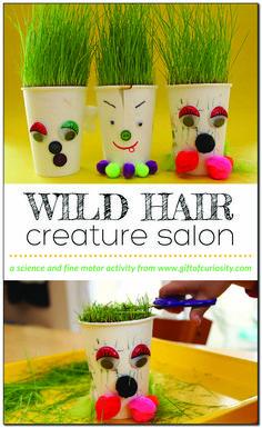 "Wild Hair Creature Salon   Grow your own ""wild hair"" creatures and build your own hair salon to give them ""haircuts."" #springcraftsforkids"