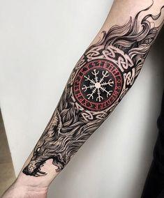 New viking tattoo sleeve tatoo ideas Viking Tattoo Sleeve, Wolf Tattoo Sleeve, Tattoo Sleeve Designs, Sleeve Tattoos, Wolf Sleeve, Dragon Tattoo Designs, Fenrir Tattoo, Norse Tattoo, Celtic Tattoos