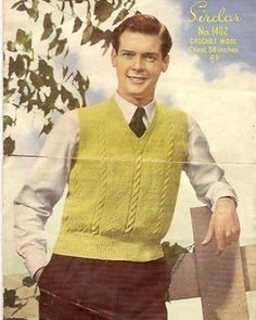 ROGER MOORE -  'I found this knitting pattern for a yellow tank top in a charity shop in Cardiff back in 1997. The model looked very familiar'