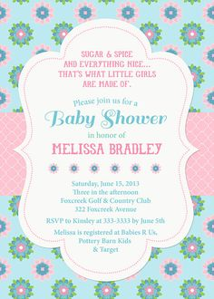 Pretty Pink and Blue Floral Baby Shower by PartyPopInvites on Etsy, $17.00
