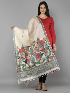 Brown Tussar Silk Hand Painted Madhubani Dupatta – The Loom Saree Painting, Dress Painting, Fabric Painting, Hand Painted Sarees, Hand Painted Fabric, Kurta Designs, Kalamkari Designs, Fabric Paint Designs, Fabric Design