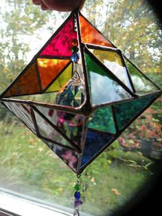 Geometric Rainbow Stained Glass Sculpture sun catcher with crystal