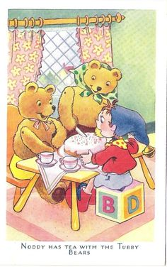 Noddy has tea with the Tubby Bears My Childhood Friend, 1970s Childhood, Childhood Memories, Drawing Painting Images, Enid Blyton Books, Vintage Children's Books, Vintage Paper, Children's Book Illustration, Book Illustrations