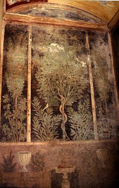 Roman fresco (detail) from the Garden Room of the Casa del Bracciale d'Oro (VI 17 in Pompeii 50 BCE - 79 CE Antique Depictions of Natural Scenery Ancient Pompeii, Pompeii Ruins, Pompeii Italy, Pompeii And Herculaneum, Empire Romain, Ancient History, European History, Ancient Aliens, American History