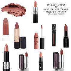 Dupes for MAC velvet teddy matte lipstick from drugstore & luxury brands