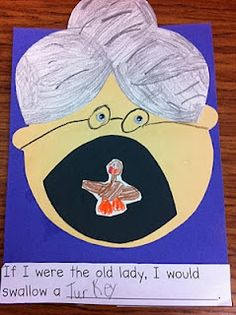 Craft and Writing Activity to use after reading I Know an Old Lady Who Swallowed a Pie.