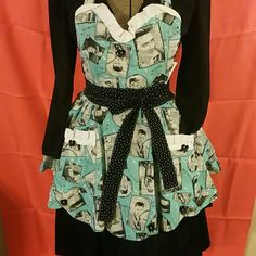 Vintage insprired sweetheart apron Vintage inspired Elvis apron double lined with a black and white polkadot cotton fabric, with accent bows, and a double pocket. Glamour  Vixens Creations  Other