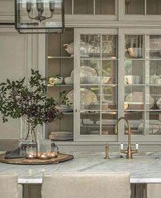 Sliding Cabinet Doors, Glass Cabinet Doors, Home Decor Signs, Cheap Home Decor, Cute Kitchen, Glass Kitchen, Home Decor Kitchen, Design Kitchen, Kitchen Ideas
