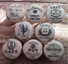 Vintage Handmade Kitchen Knobs CAFE Drawer Pulls Paris France Shabby Chic Cottage French Provincial Farmhouse The Cafe Set