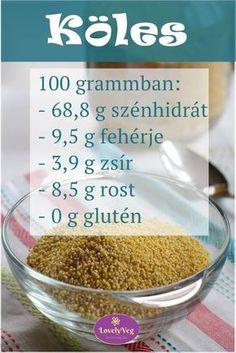Köles, a szuper egészséges gabona! Tudj meg a kölesről többet! Crossfit Diet, Cereal, Paleo, Food And Drink, Healthy Eating, Low Carb, Gluten, Breakfast, Foods
