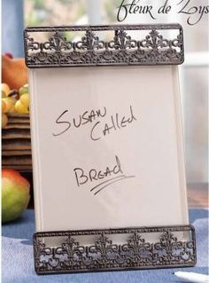 Great to display some casual messages, recipes or notes to leave for your kids. Its metal stand is enriched with some Fleur De Lis designs to bring back old word elegance to your table setting. Menu and Message Board at $19.99