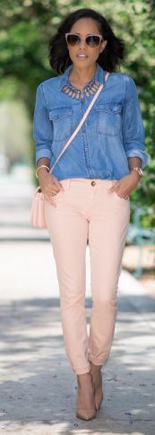 Peach Pants With Chambray Styling