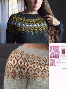 Fair Isle Knitting Patterns, Knitting Charts, Sweater Knitting Patterns, Lace Knitting, Knit Crochet, Crochet Bikini Pattern, Crochet Patterns, Punto Fair Isle, Norwegian Knitting